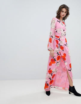 Gestuz Rose Printed Maxi Dress With Open V Back - Pink roses