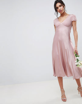 Ghost bridesmaid capped sleeve maxi dress - Boudoir pink