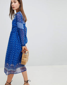 New Look Border Print Midi Dress - Blue pattern