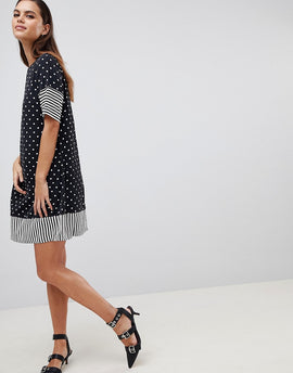 Y.A.S Spot And Stripe Shift Dress - Multi