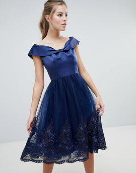 Chi Chi London Off Shoulder Midi Dress with Bow Front and Premium Lace Detail - Navy