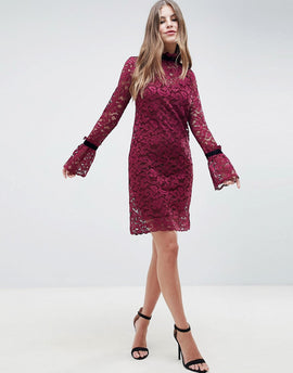 Hope & Ivy Shift Lace Dress - Burgandy