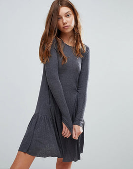 Pull&Bear Frill Hem Mini Dress - Grey