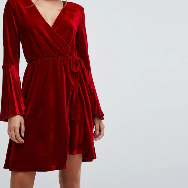 Aeryne Velvet Wrap Dress with Pleated Sleeves - Deep red