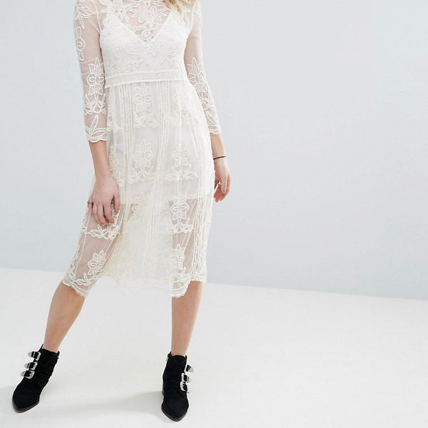 Chandelier Embroidered Mesh Midi Dress With Detachable Slip - Cream