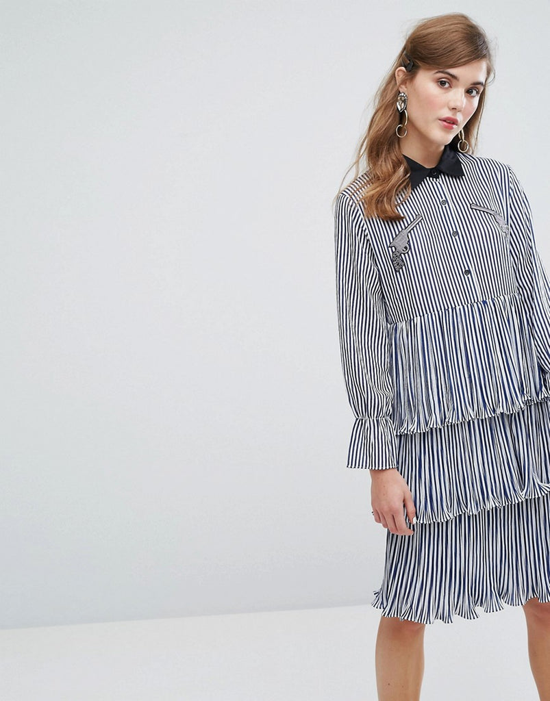 Sister Jane Midi Tiered Shirt Dress With Ruffles & Patches In Stripe - Blue