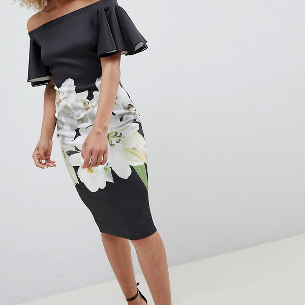 Jessica Wright Bardot Dress With Floral Print - Black
