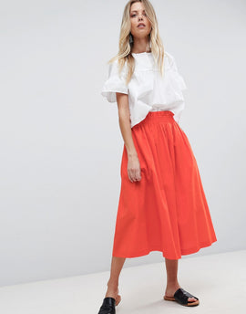 ASOS Tailored Linen Prom Skirt - Orange
