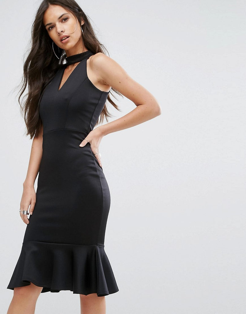 Outrageous Fortune High Neck Midi Dress with Pephem - Black