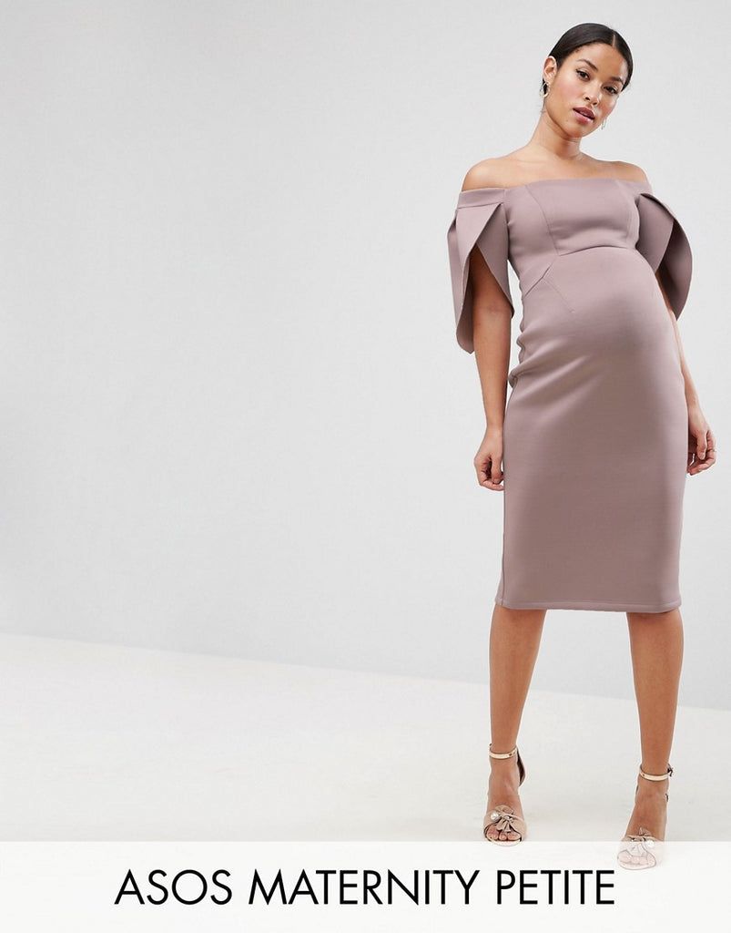 ASOS Maternity PETITE Petal Sleeve Bardot Midi Bodycon Dress - Mink