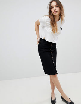 Monki Denim Midi Skirt - Black