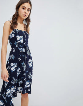 Hollister Floral Print Midi Dress with Lace Detail - Blue print