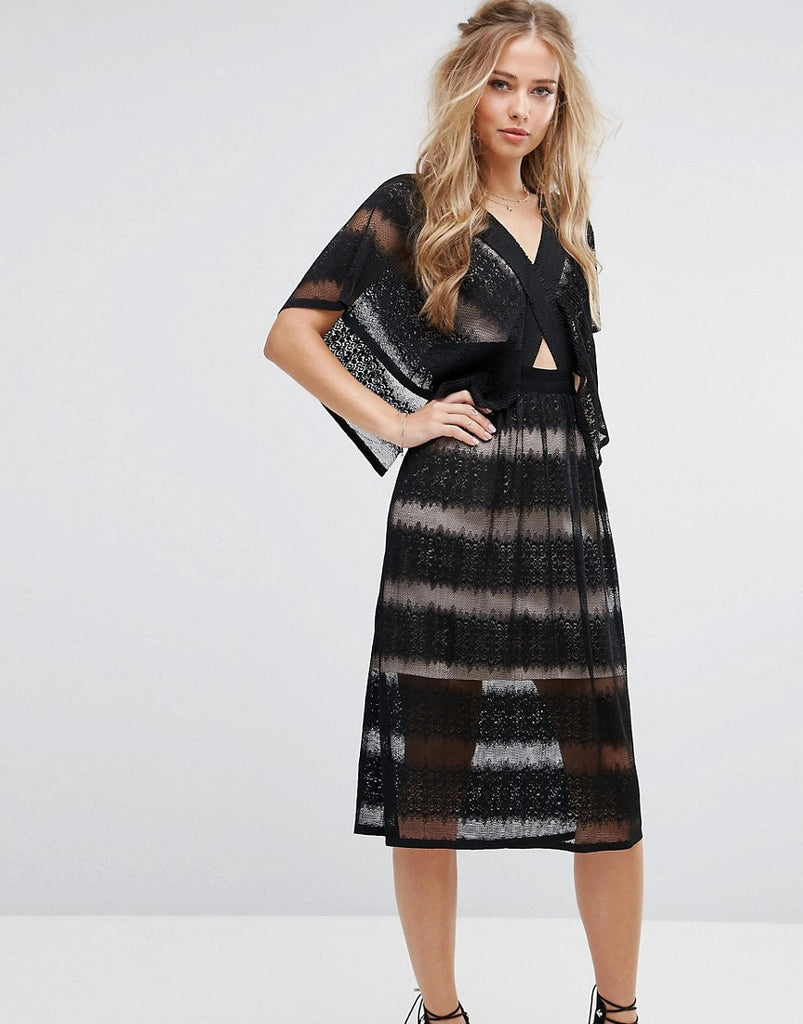 Foxiedox Sheer Lace Kimono Sleeve Dress - Black