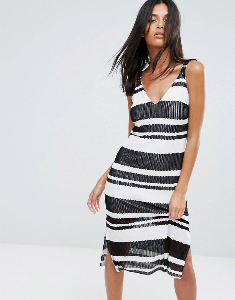A State Of Being Sprint Stripe Midi Dress - Black/white/white