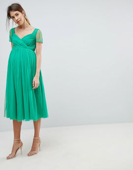 ASOS MATERNITY Tulle Midi Dress with Sheer Sleeve - Green