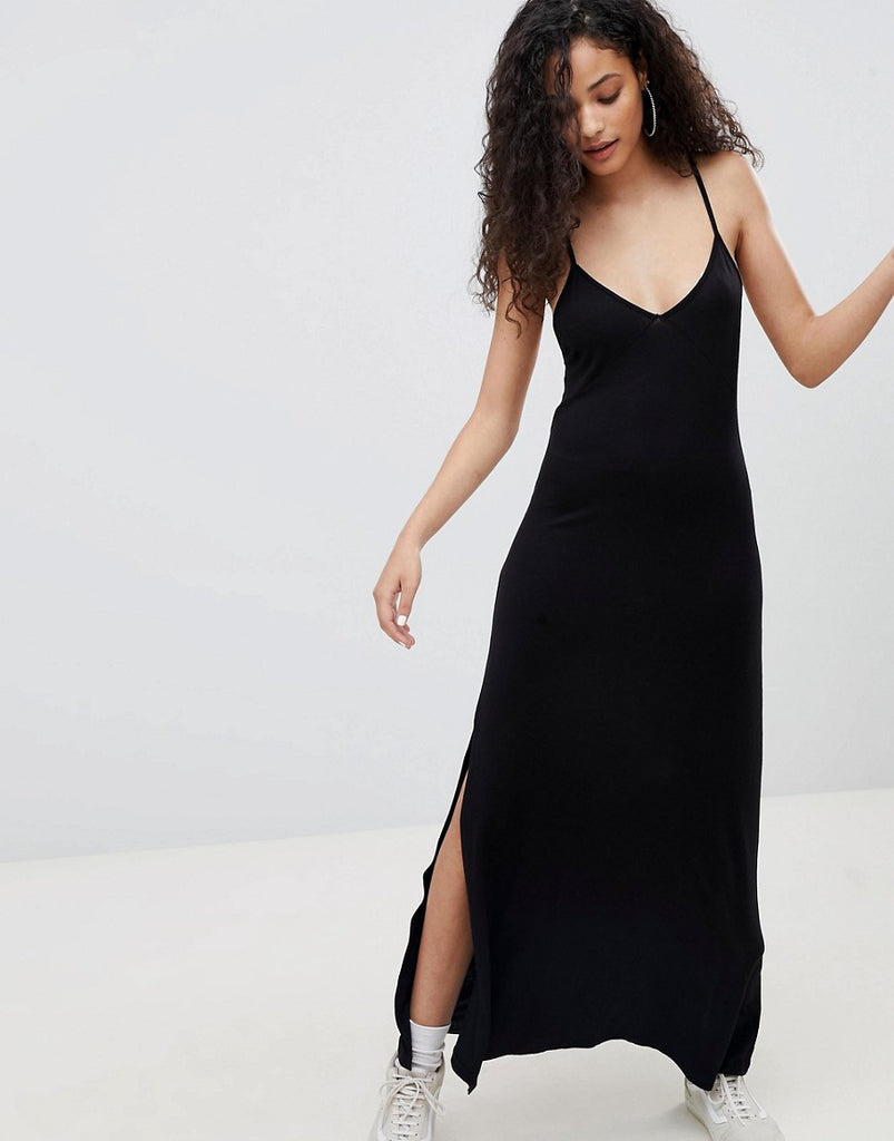 Bershka cami maxi dress in black - Black