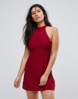 Abercrombie & Fitch Lace Halterneck Mini Dress - Red lace