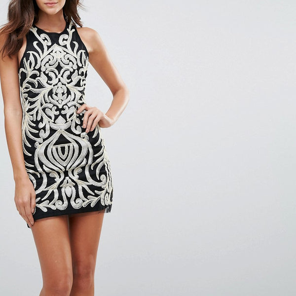 Endless Rose Sequin Brocade Mini Dress - Black combo