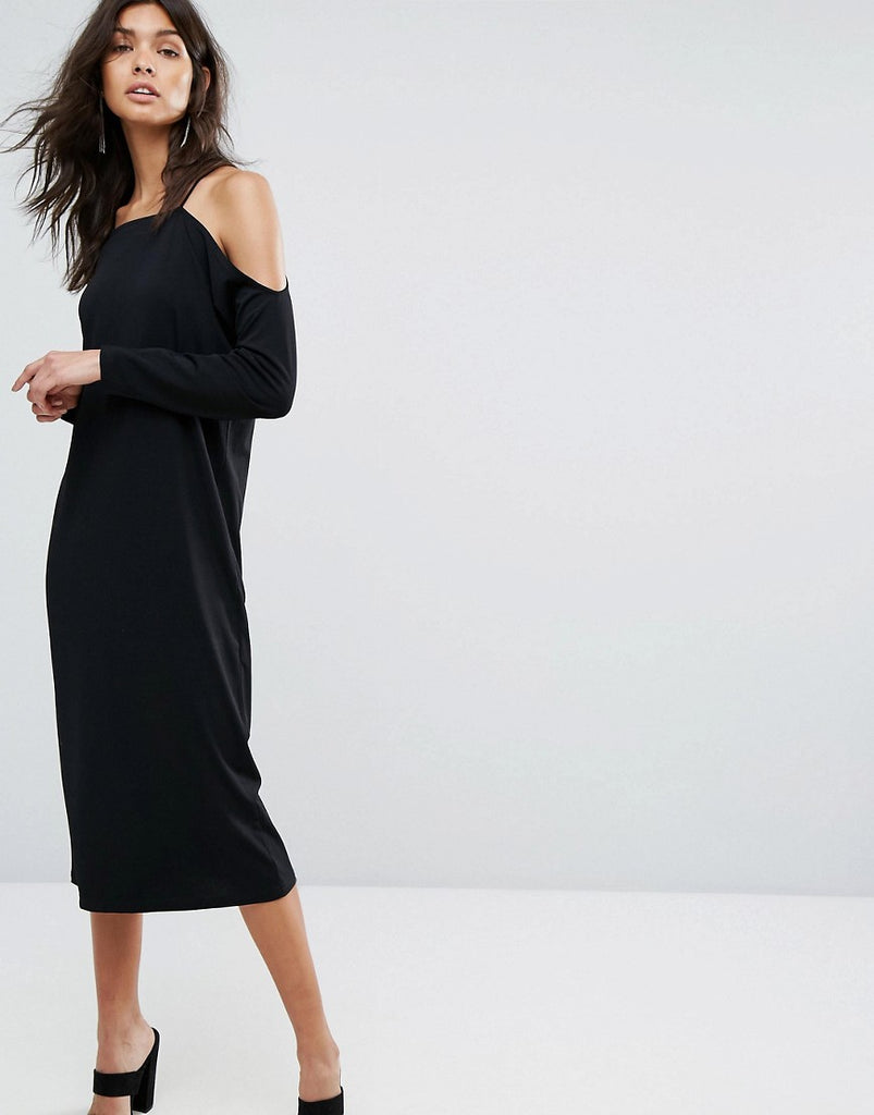 Selected Off Shoulder Dress - Black