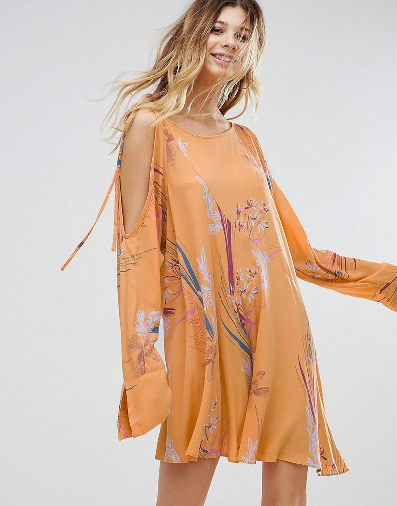 Free People Clear Skies Cold Shoulder Printed Dress - Orange