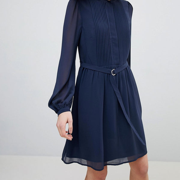 Warehouse Blouson Sleeve Belted Chiffon Shirt Dress - Navy