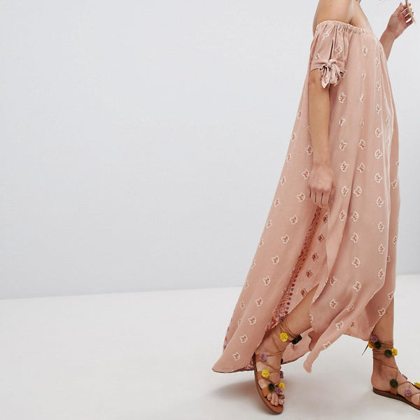 Flynn Skye Bandeau Split Maxi Dress - Natural lotus
