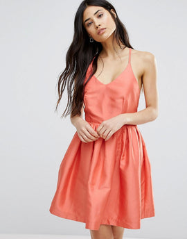 Girls On Film Fit And Flare Prom Dress - Coral
