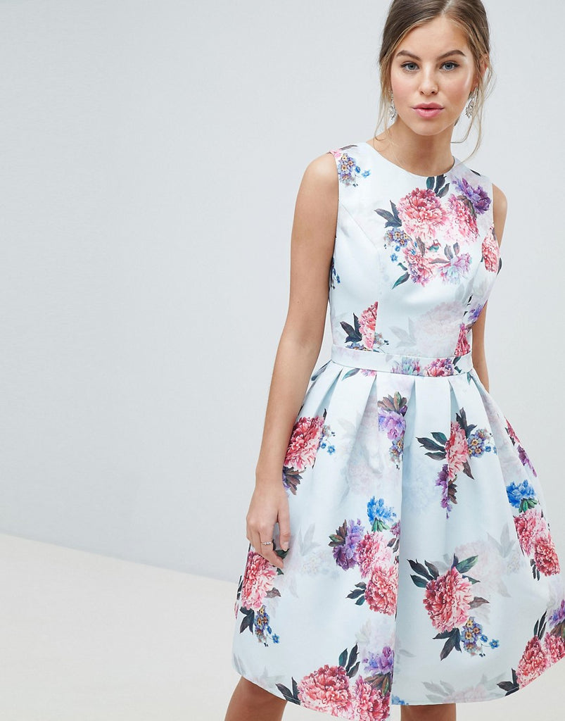 Chi Chi London Bow Back Midi Prom Dress in Floral Print - Multi floral