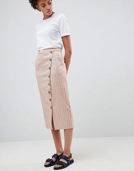 ASOS WHITE Check Skirt - Peach check