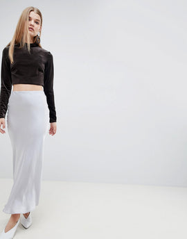 ASOS WHITE Satin Maxi Skirt - Silver grey