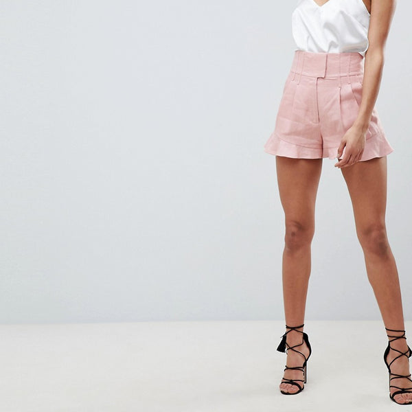 Forever New Corset Detail Tailored Linen Shorts - Pink