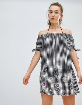 Floozie By Frost French Gingham Off The Shoulder Beach Dress - Black