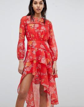 Finders Floral Printed Ruffle Dress - Red floral