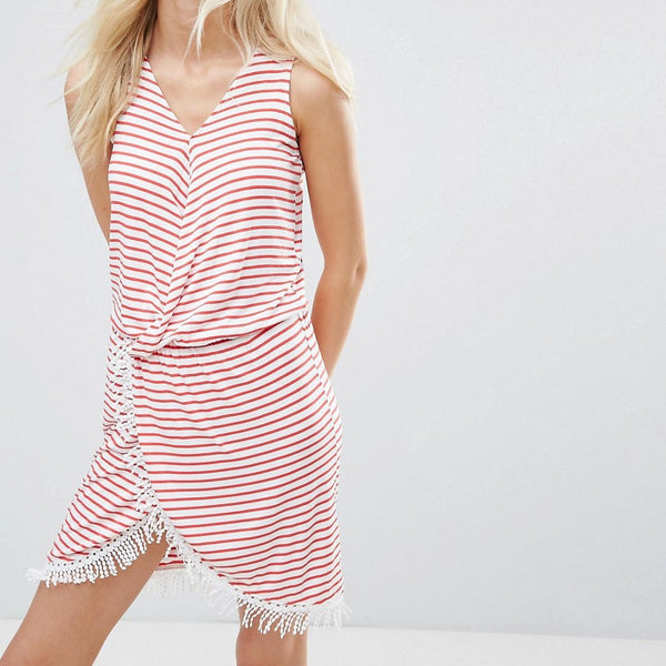 Blend She Simone Striped Wrap Dress - Hibiscus