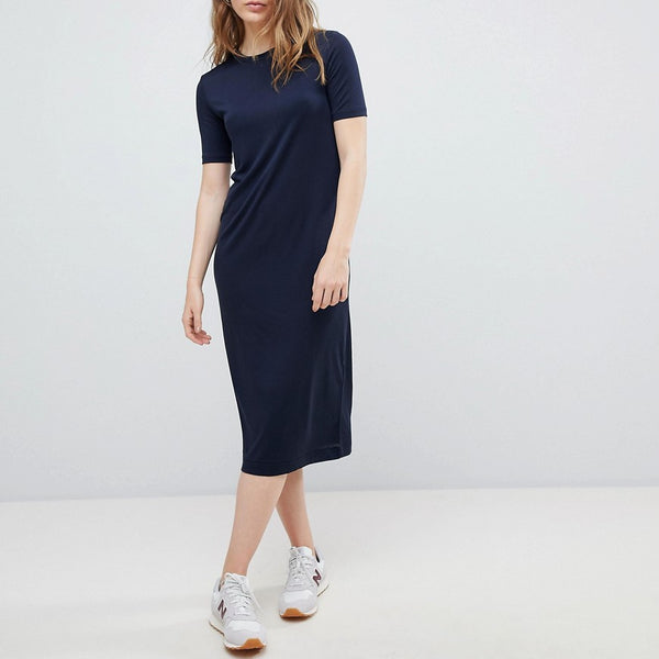 Weekday Column Midi Dress - Navy