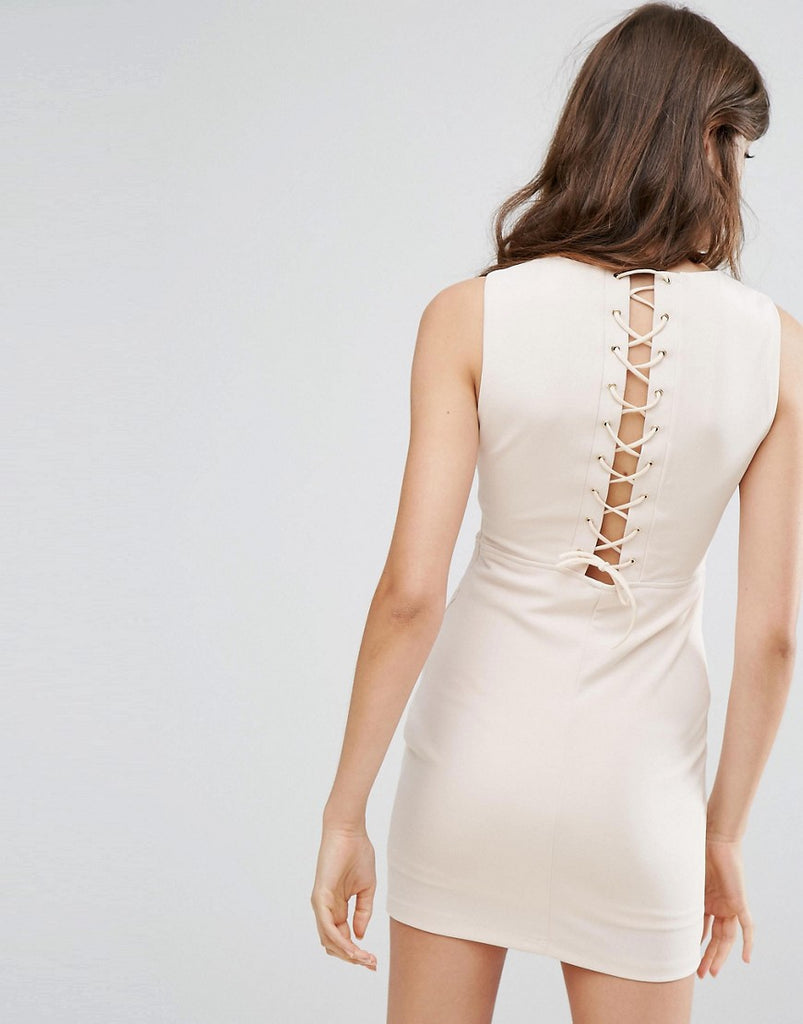 Oeuvre Dress With Lace Up Back - Apricot