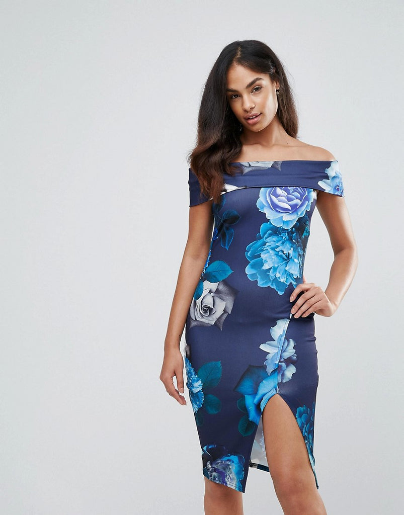 Jessica Wright Floral Bardot Thigh High Split Midi Dress - Multi