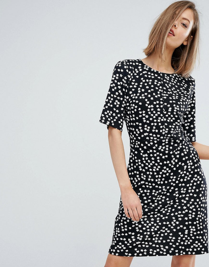 Warehouse Ditsy Floral Shift Dress - Black pattern