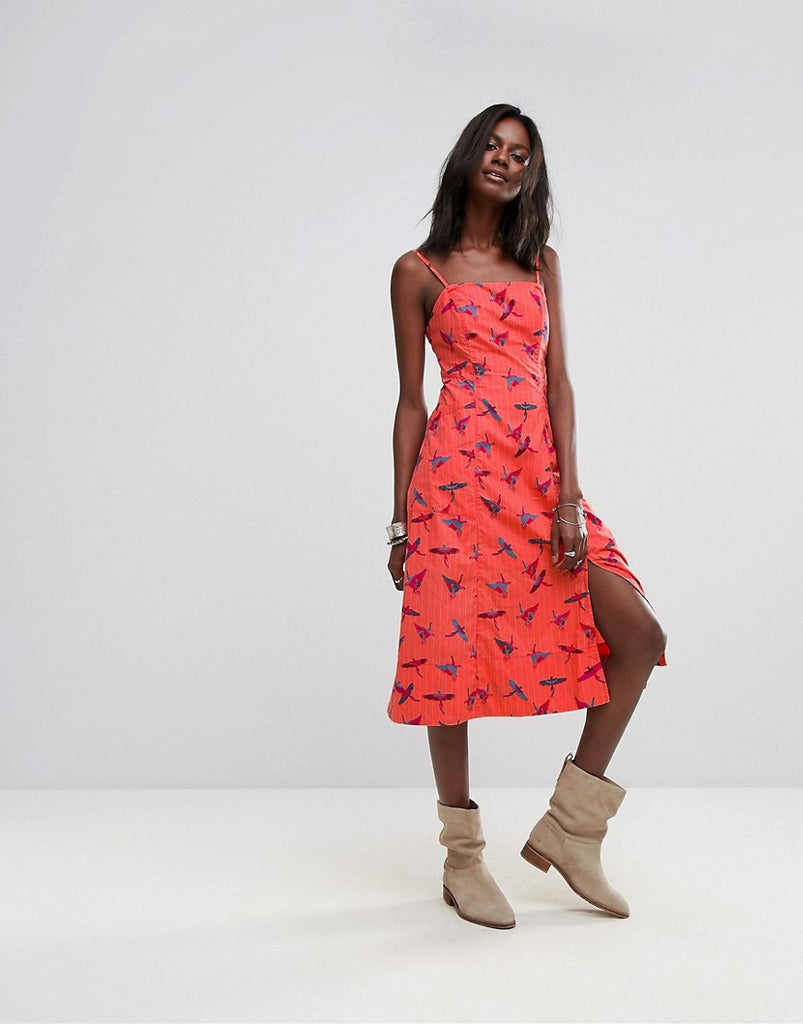 Free People Sunshine Of Your Love Midi Dress - Red combo