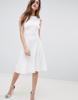 French Connection Knitted Fit and Flare Dress - White