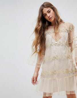 Stevie May Lace Longsleeve Mini Dress - Nude pale gold