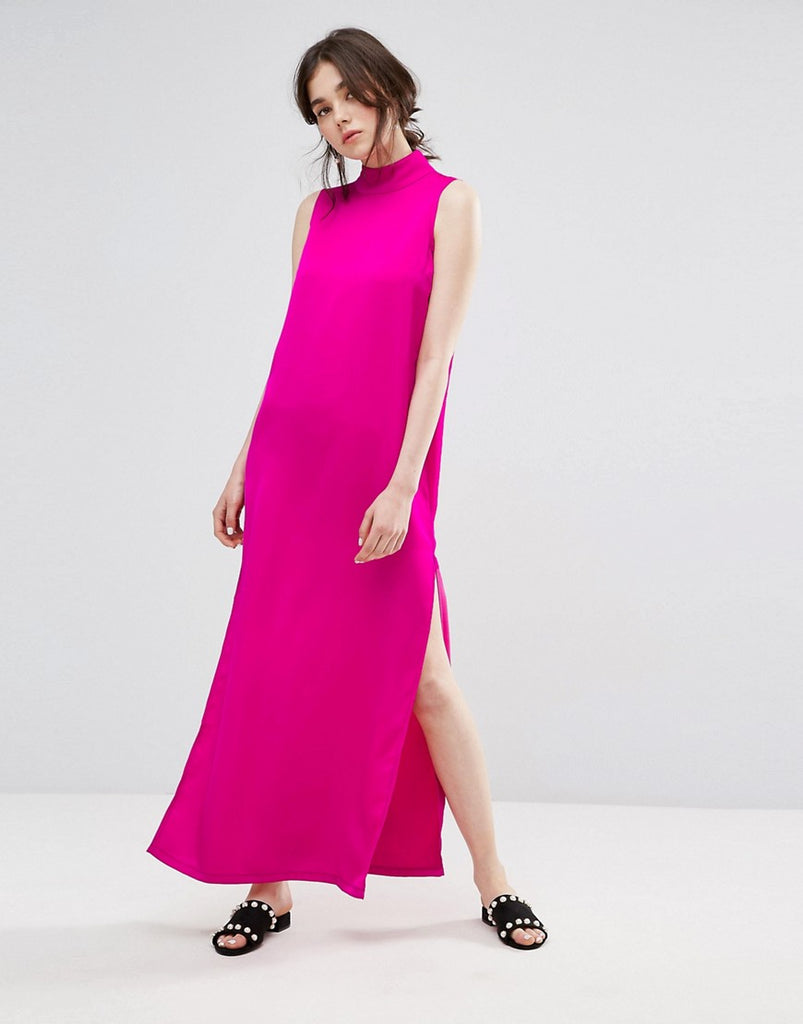 Plain Studios Maxi Shift Dress With High Neck In Luxe Fabric - Pink