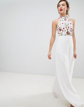 Frock & Frill High Neck Maxi Dress With Rainbow Embellishment - White