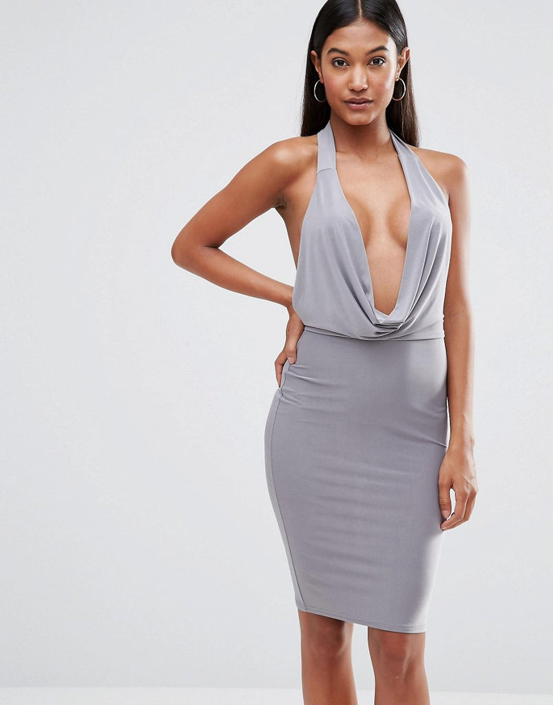 Club L High Neck Bodycon Dress With Cowl Front - Grey