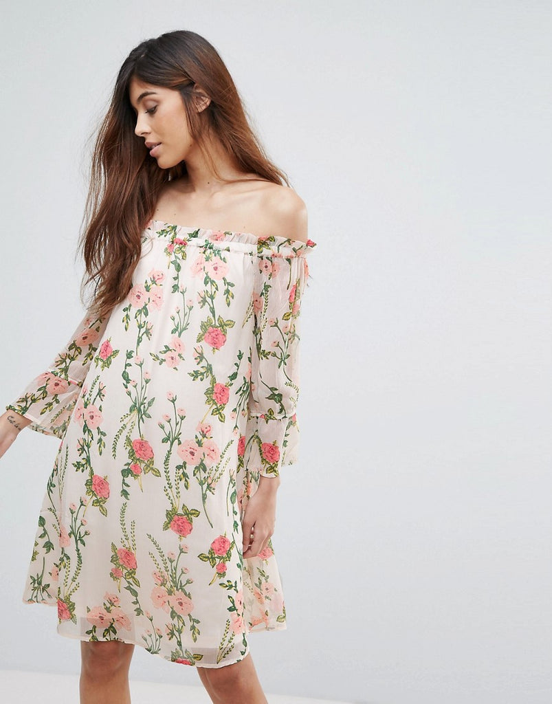 Vero Moda Off Shoulder Floral Dress - Almost mauve