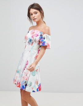 Coast Azure Bardot Floral Print Dress - Floral