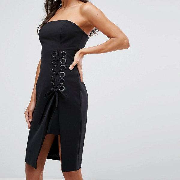 Finders Unbelievers Bandeau Dress With Lattice Tie - Black