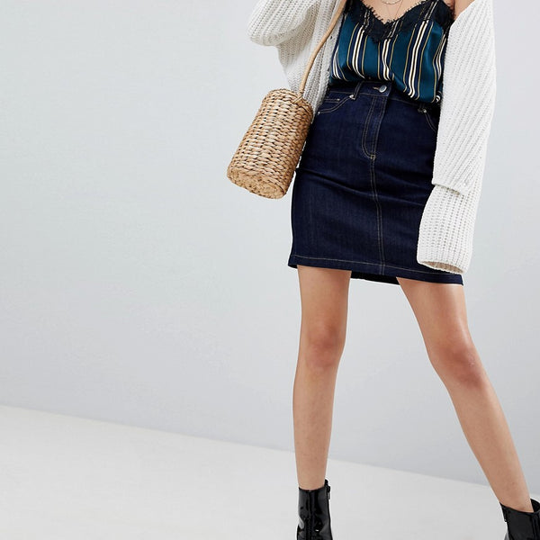 Warehouse 5 Pocket Raw Denim Mini Skirt - Dark wash