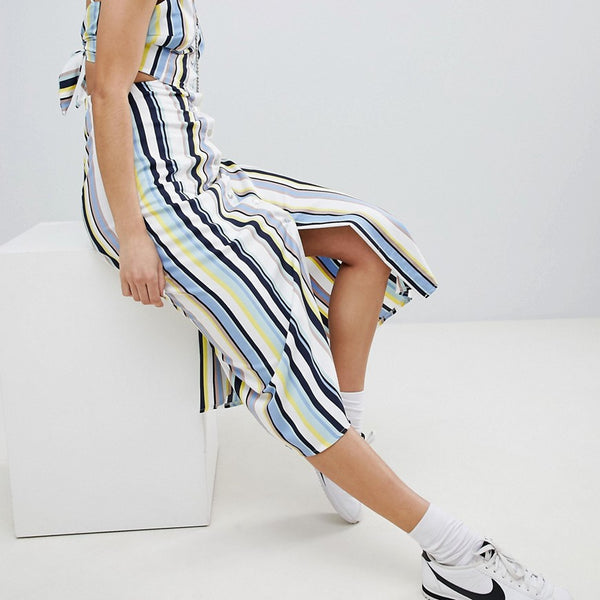 Bershka cut out stripe button detail midi dress - Multi