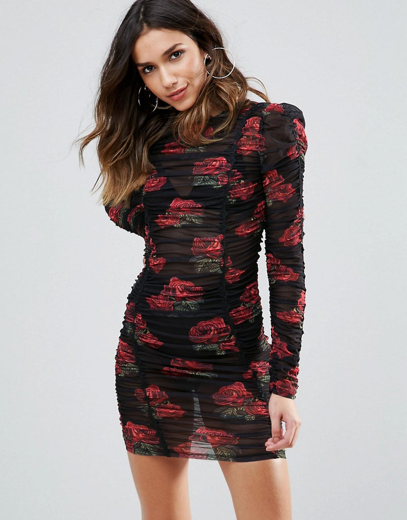 WOW Couture All Over Ruched Mini Bodycon Dress In Rose Floral Print - Multi